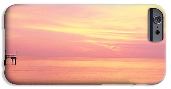 Pastel iPhone Cases - Sunset At Pier, Water, Caspersen Beach iPhone Case by Panoramic Images