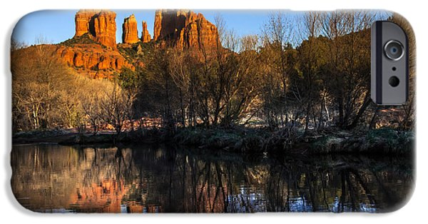 Oak Creek iPhone Cases - Sunset at Red Rocks Crossing in Sedona AZ iPhone Case by Teri Virbickis