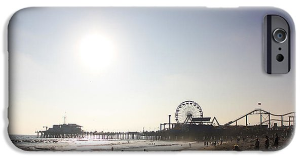 Santa Pyrography iPhone Cases - Sunset at Santa Monica Beach iPhone Case by Yann Bissonnette