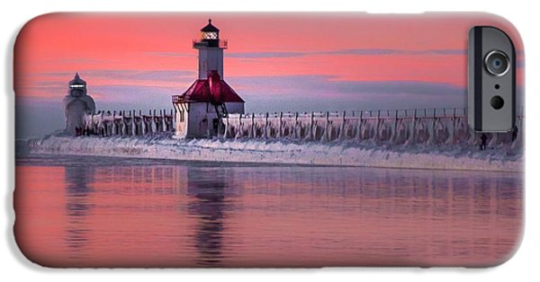 Chicago iPhone Cases - Sunset at St. Joseph Lighthouse iPhone Case by Susan Grube