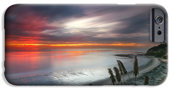 Sunset iPhone Cases - Sunset at Swamis Beach 4 iPhone Case by Larry Marshall