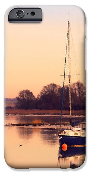Sailing Photographs iPhone Cases - Sunset at the creek iPhone Case by Pixel Chimp