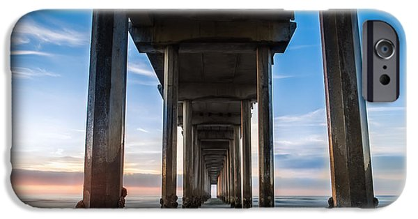 Waterscape iPhone Cases - Sunset at the Iconic Scripps Pier iPhone Case by Larry Marshall