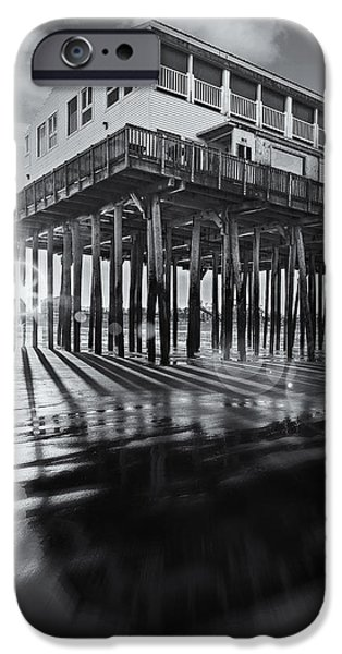 United States iPhone Cases - Sunset At The Pier BW iPhone Case by Susan Candelario
