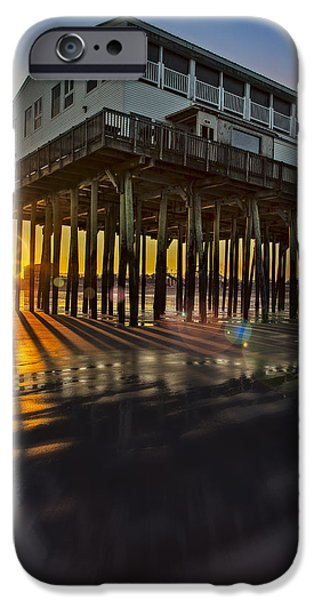 Maine iPhone Cases - Sunset At The Pier iPhone Case by Susan Candelario