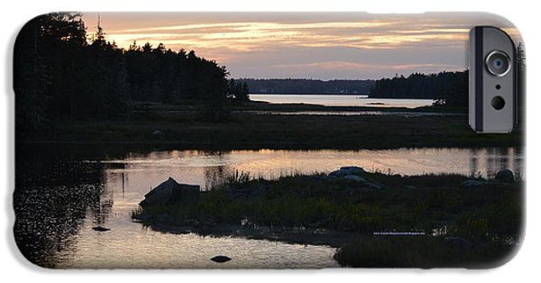 Maine Pyrography iPhone Cases - Sunset at the Salt Marshes iPhone Case by Lena Hatch
