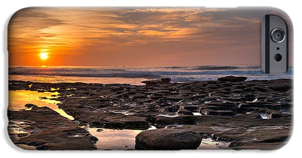 La Jolla Surfers iPhone Cases - Sunset at the Tidepools II iPhone Case by Peter Tellone