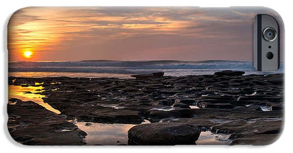 La Jolla Surfers iPhone Cases - Sunset at the Tidepools III iPhone Case by Peter Tellone