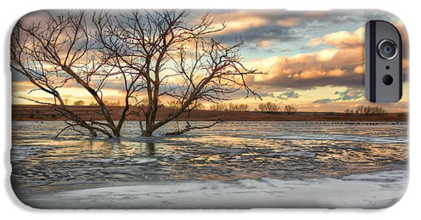 Nebraska iPhone Cases - Sunset at Walnut Lake iPhone Case by Nikolyn McDonald