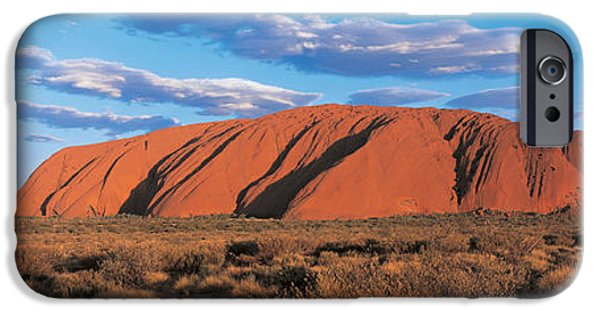 Red Rock iPhone Cases - Sunset Ayers Rock Uluru-kata Tjuta iPhone Case by Panoramic Images