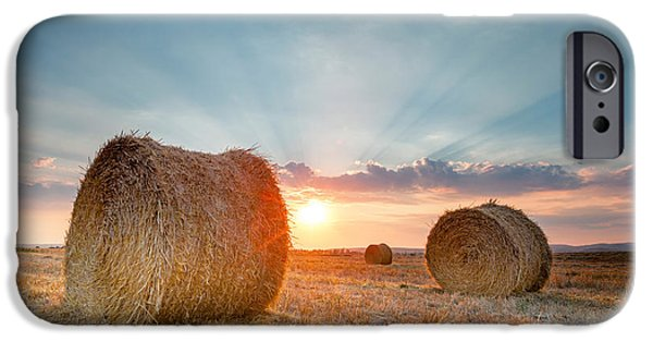 Bale iPhone Cases - Sunset Bales iPhone Case by Evgeni Dinev