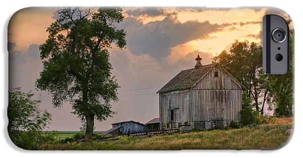 Nebraska iPhone Cases - Sunset Barn iPhone Case by Nikolyn McDonald