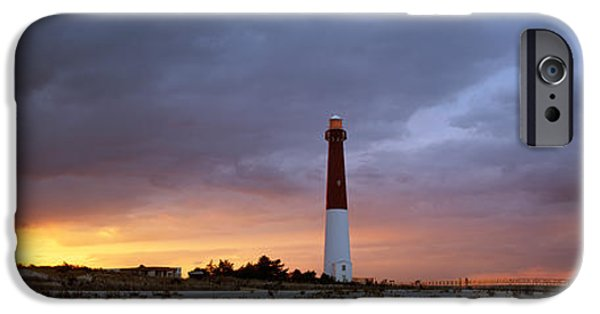 Drama iPhone Cases - Sunset, Barnegat Lighthouse State Park iPhone Case by Panoramic Images