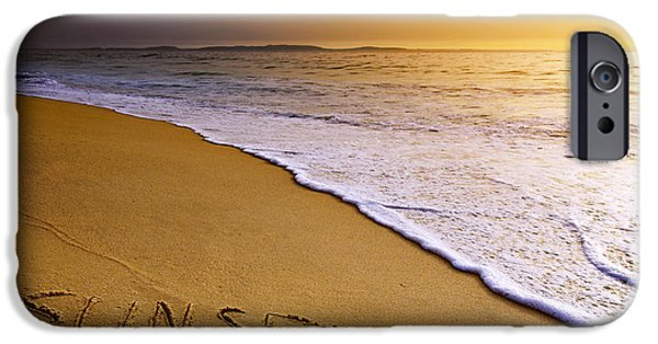 Surf Lifestyle Photographs iPhone Cases - Sunset Beach iPhone Case by Carlos Caetano