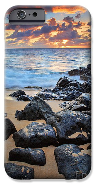 Drama iPhone Cases - Sunset Beach iPhone Case by Inge Johnsson
