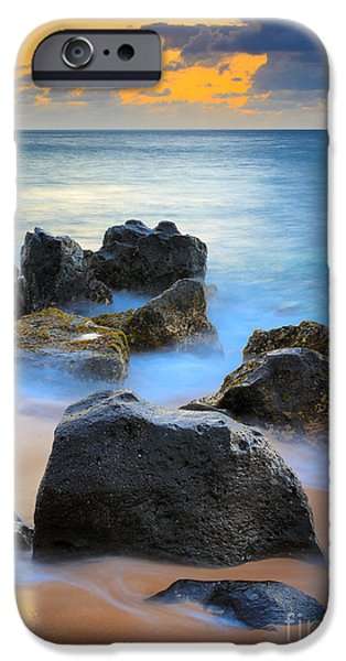 Sunset Beach Rocks iPhone Case by Inge Johnsson