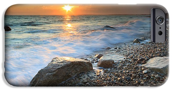 Storm Clouds Cape Cod iPhone Cases - Sunset Beach Seascape iPhone Case by Katherine Gendreau