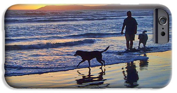 Pch iPhone Cases - Sunset Beach Stroll - Man and Dogs iPhone Case by Nikolyn McDonald