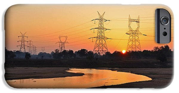 Electrical Equipment iPhone Cases - Sunset between powerlines iPhone Case by Image World