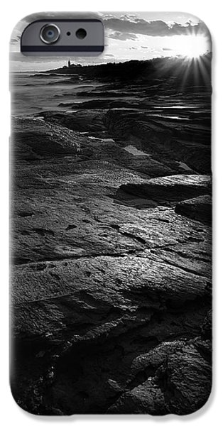 New England Lighthouse iPhone Cases - Sunset Beyond Black and White iPhone Case by Lourry Legarde