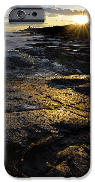 New England Lighthouse iPhone Cases - Sunset Beyond iPhone Case by Lourry Legarde
