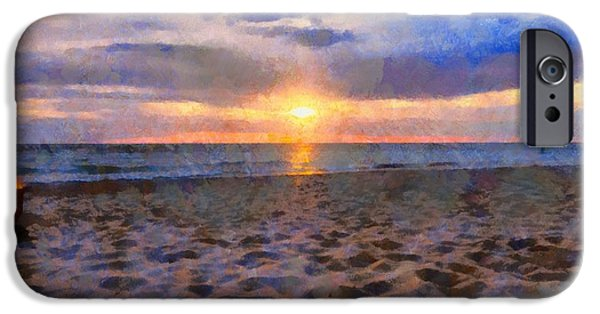 Chicago Paintings iPhone Cases - Sunset Bonfire On The Beach iPhone Case by Dan Sproul