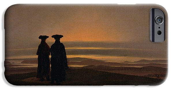 Setting Sun iPhone Cases - Sunset Brothers C.1830-35 Oil On Canvas iPhone Case by Caspar David Friedrich