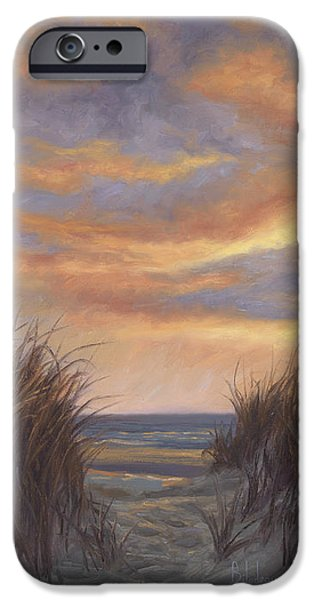 Sea iPhone Cases - Sunset By The Beach iPhone Case by Lucie Bilodeau