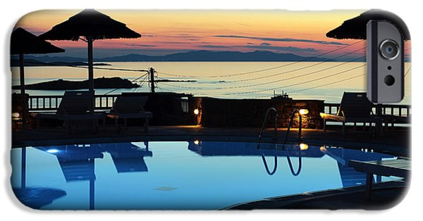 The Pool iPhone Cases - Sunset by the Pool iPhone Case by John Rizzuto