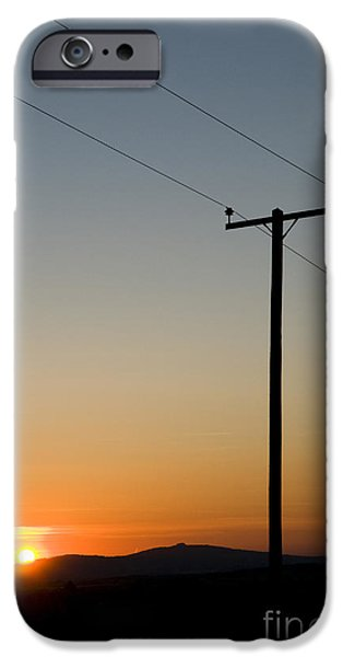 Electrical iPhone Cases - Sunset Cables iPhone Case by Anne Gilbert