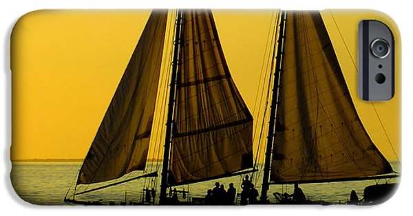 Tall Ship iPhone Cases - Sunset Celebration iPhone Case by Karen Wiles