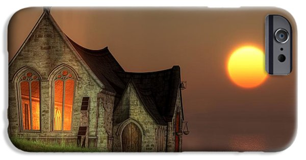 Christian Art iPhone Cases - Sunset Chapel by the Sea iPhone Case by Christian Art