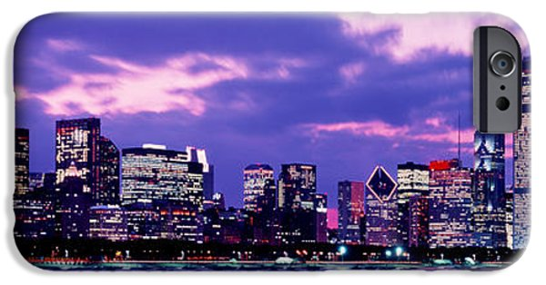 Sears Tower iPhone Cases - Sunset Chicago Il Usa iPhone Case by Panoramic Images