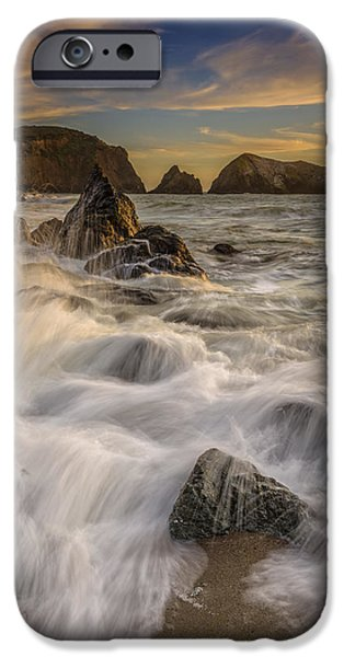 Headland iPhone Cases - Sunset Churning iPhone Case by Rick Berk