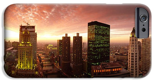 Il iPhone Cases - Sunset Cityscape Chicago Il Usa iPhone Case by Panoramic Images