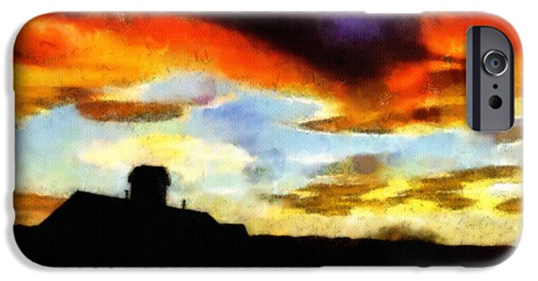 Clouds Drawings iPhone Cases - Sunset Colours iPhone Case by Ayse Deniz