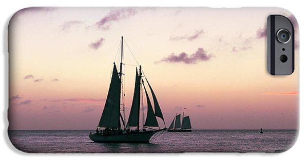 Sailing iPhone Cases - Sunset cruise - Key West iPhone Case by Claudia Mottram