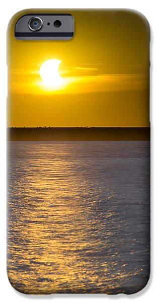Mystic Setting Photographs iPhone Cases - Sunset Eclipse iPhone Case by Chris Bordeleau