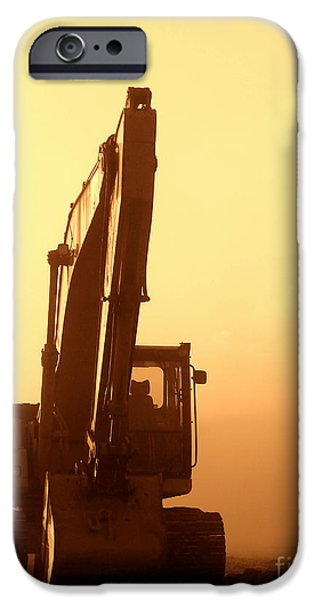 Industry iPhone Cases - Sunset Excavator iPhone Case by Olivier Le Queinec