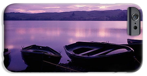 Boat iPhone Cases - Sunset Fishing Boats Loch Awe Scotland iPhone Case by Panoramic Images