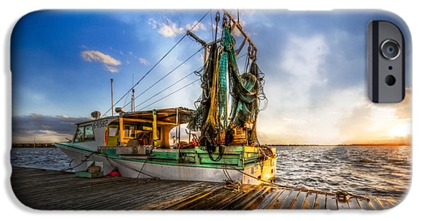 Boats At The Dock iPhone Cases - Sunset Fishing iPhone Case by Debra and Dave Vanderlaan