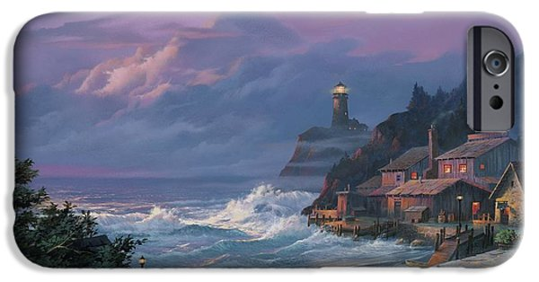 Lighthouse iPhone Cases - Sunset Fog iPhone Case by Michael Humphries