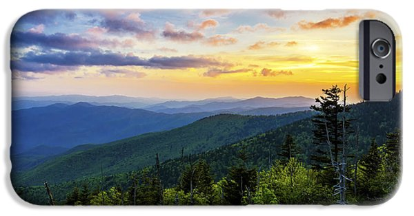 Gatlinburg iPhone Cases - Sunset from Clingmans dome iPhone Case by Anthony Heflin