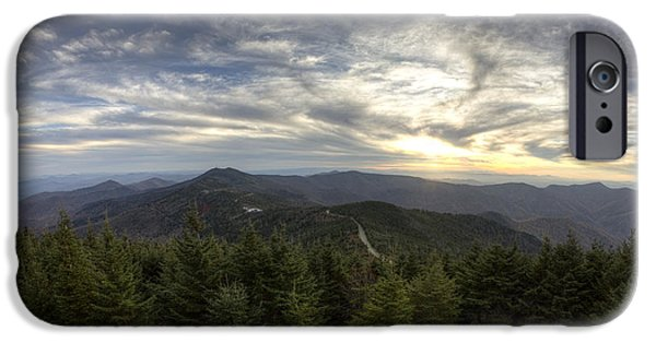 Blue Ridge Parkway iPhone Cases - Sunset from Mt Mitchell Blue Ridge Parkway iPhone Case by Dustin K Ryan