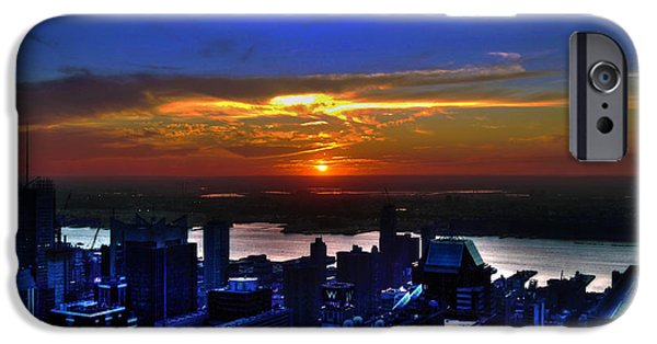 Hudson River iPhone Cases - Sunset from the Empire State Building iPhone Case by Randy Aveille