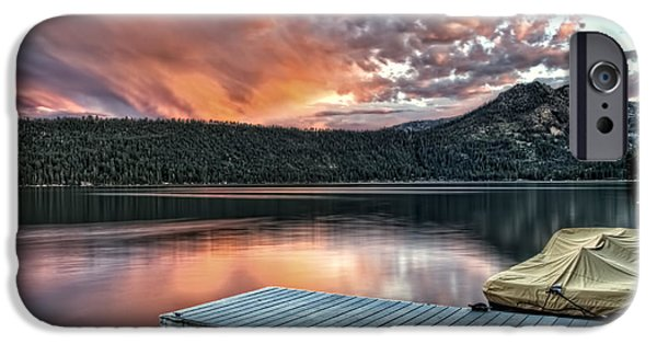 Fallen Leaf On Water iPhone Cases - Sunset From Pier iPhone Case by Maria Coulson