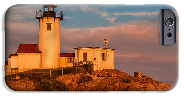 New England Lighthouse iPhone Cases - Sunset Glow on the Eastern Point Lighthouse iPhone Case by Thomas Schoeller