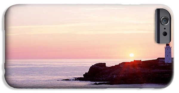 Pastel iPhone Cases - Sunset, Godrevy Lighthouse, Cornwall iPhone Case by Panoramic Images