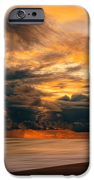 Abstract Seascape iPhone Cases - Sunset Grandeur iPhone Case by Lourry Legarde