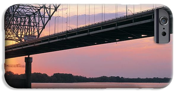 Tn iPhone Cases - Sunset, Hernandez Desoto Bridge And iPhone Case by Panoramic Images